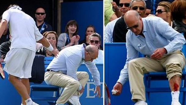 テニスで線審に怒りのキック 失...